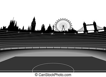 Stadium and London skyline - vector - Illustration of the...