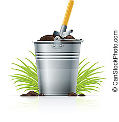 metallic bucket with ground and shovel vector illustration...