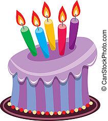 Urodziny, ciastko, płonący, świece
