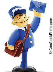 mail carrier with bag and letter vector illustration...