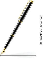 golden pen vector illustration isolated on white background