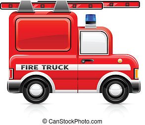 red fire truck - wred fire truck vector illustration...
