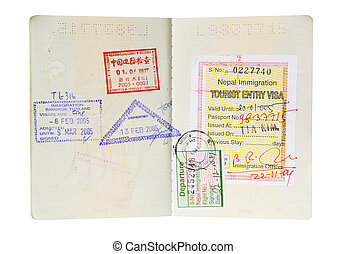 Isolated Passport - Passport with multiple stamps isolated...
