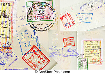 Passport Stamps Background - Passport stamps background with...