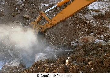 Excavator in a quarry - Dump truck in a quarry