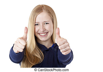 Young beautiful blonde woman shows both thumbs up