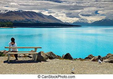 Lake Pukaki and Mount Cook, New Zealand - Lake Pukaki and...