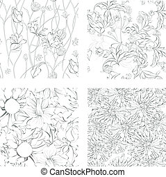Set of seamless background with flowers