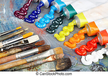 Oil paint and brushes - Palette with oil paint and brushes