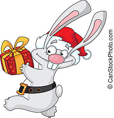 rabbit Santa with gift box