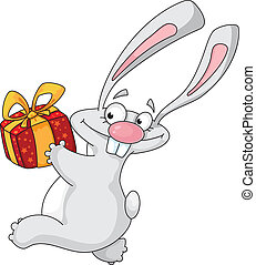 rabbit with gift box