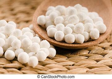 blanco, tapioca, perlas