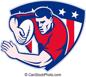 American rugby player fending - illustration of an American...