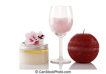 Spa products over white - Spa products, candle and cherry...