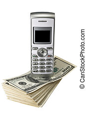 Mobile phone on dollars - Mobile phone on money, isolated on...