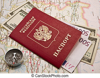 Passport with money,compass, map - Passport with money and...
