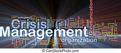 Crisis management is bone background concept glowing -...
