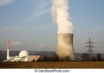atomic reactor with cloud of water dust