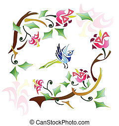 Bird abstract pattern - Bird and spring tree abstract...
