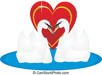 Two swans in love, for life..