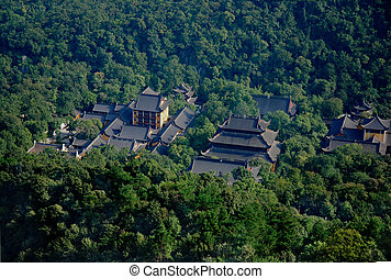 aerial view of chinese pagodas in the forest