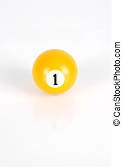 Number One - Billiard ball - number one on white background