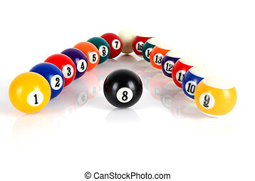 Billiard balls - Set of billiard balls on white background