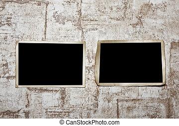 Photoframe  on  wall. - Vintage photo frame on wall