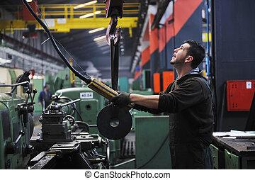 industria, trabajadores, gente, fábrica