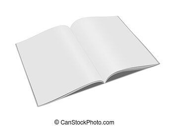 open magazine - 3d blank white magazine isolated on white