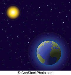 Earth in space - Space, vector, planets mother Earth, sun...