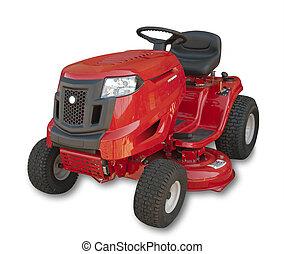 rojo, Sentado, césped, tractor, aislado