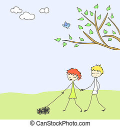 Spring scene - Cute doodle of a couple walking the dog.