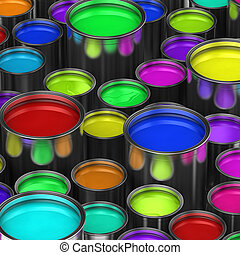 Colorful paint buckets - Many paint buckets with various...