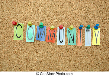 Community - Word Community placed from colourful small...