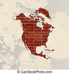 North America wall map - North America map on a brick wall