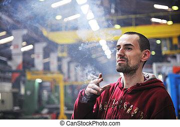 industria, trabajador, Humo, Cigarrillo