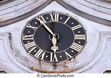 Church Clock - Detail of medieval clock on the outside of...