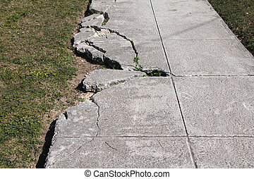 Sidewalk damage - Damaged sidewalk - danger and body harm...