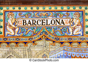 Barcelona - Famous ceramic decoration in Plaza de Espana,...