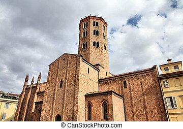 Piacenza - Church of Saint Antonino in Piacenza, Italy. The...