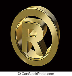 registration mark symbol in gold on a black background
