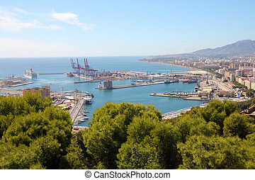 Malaga in Andalusia, Spain Aerial view of port and the city...