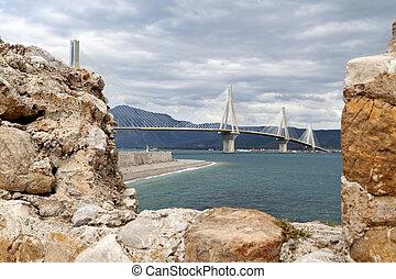 Bridge of Rio-Antirrio at Greece - Patras bridge at Greece,...