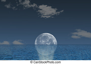 Full moon and ocean - Beautiful landscape of blue ocean and...