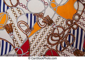 Silk scarf sea motifs - Silk scarf marine motifs with ropes...
