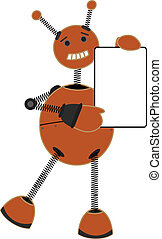 Smiling springy robot holding blank sign