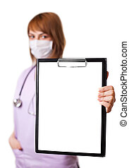 a portrait of young european doctor holding a whiteboard...
