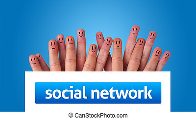 Happy group of finger smileys holding whiteboard with social...