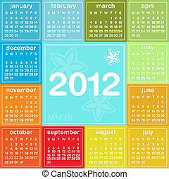 2012 calendar in seasonal colors, weeks start on Sunday